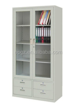 Glass Doors Metal Bookshelf For Filing Cabinet