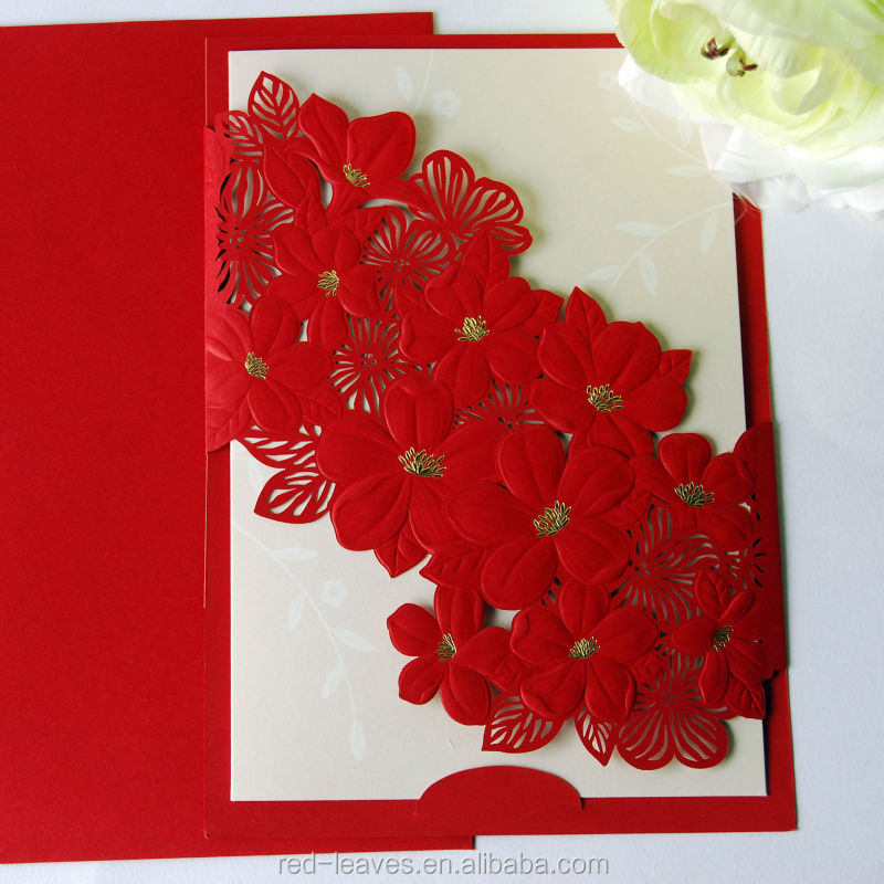 Laser Cut Elegant Flower Wedding Card Design Folding Wedding ...