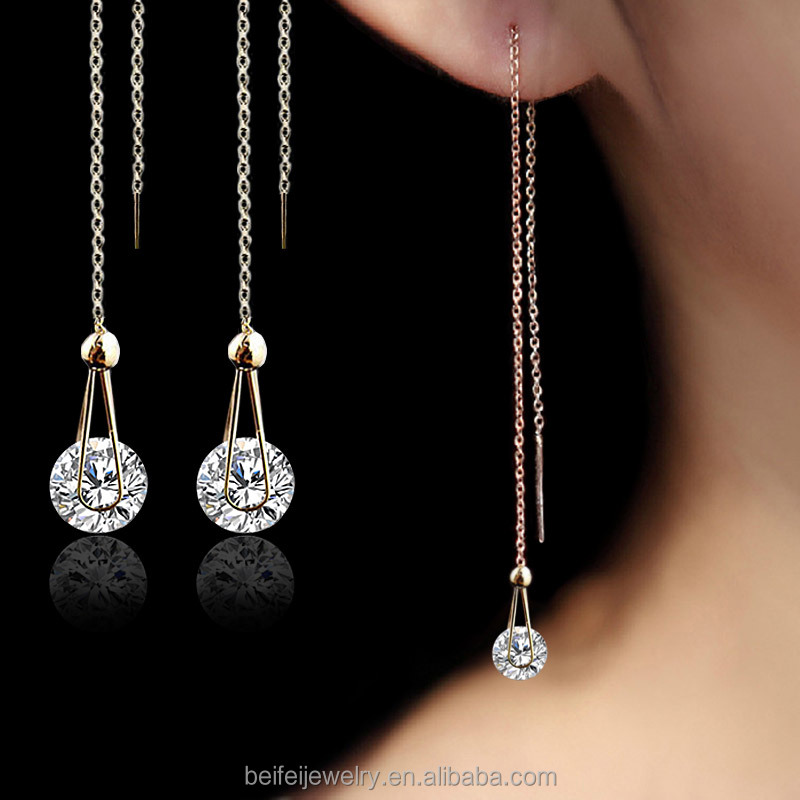Water Drop long Earrings for women Cubic Zirconia wedding Jewelry stud Earrings