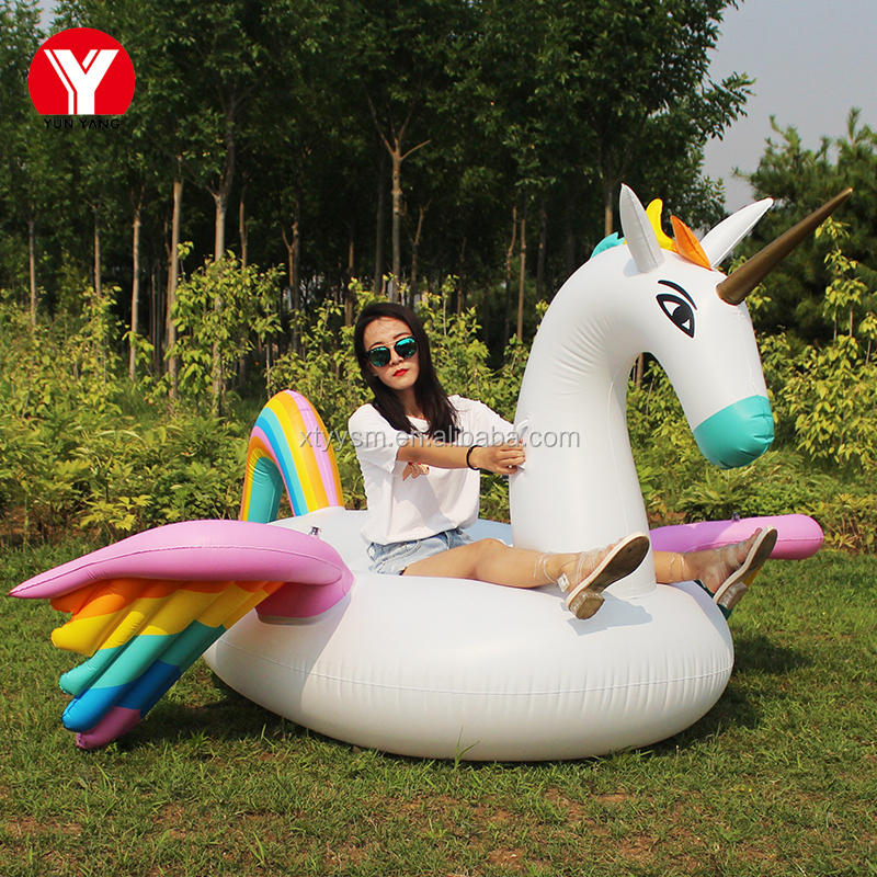 2017 new design outdoor giant rainbow inflatable pegasus float / pool toy / rainbow float