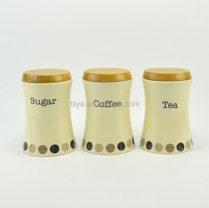 hot sale ceramic modern dot decal storage Jars with wooden lid seal container Wholesale