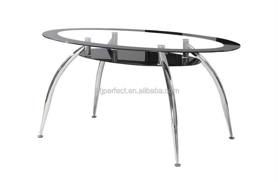 Modern Oval Glass ,chrome Leg , Cheap Dining Table