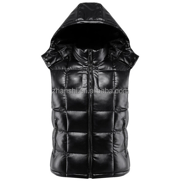 Fashionable Designer Winter Hooed Men Quilted Leather Sleeveless ...