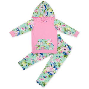 New Design Mint Green Flower Tracksuit Jogging Suits Wholesale Children's Boutique clothing