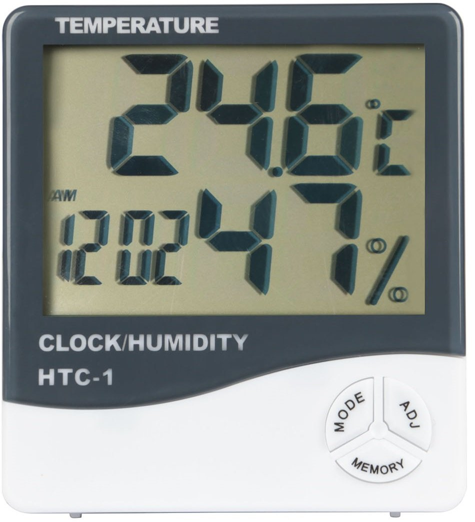 GPCT [2-In-1] Digital [Thermometer/Hygrometer] Temperature Gauge Meter W/ Alarm Clock. Indoor/Outdoor Humidity Monitor + LCD Display In Celsius/Fahrenheit. Great for Home/Living Room/Office- White