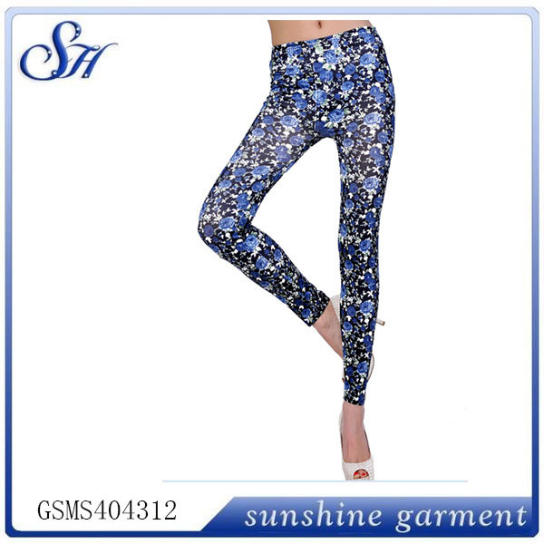 2014 ladies cheap fashion nylon seamless printed leggings