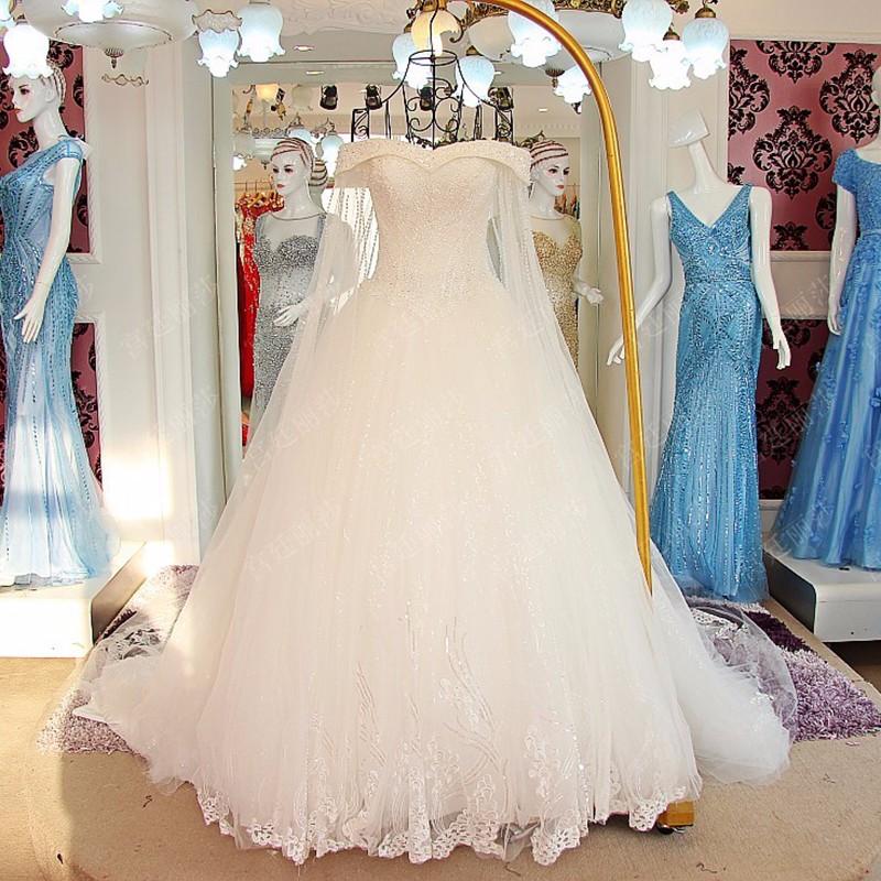 Ls60102 Crystal Beaded Off Shoulder Alibaba Wedding Gown Crystals ...