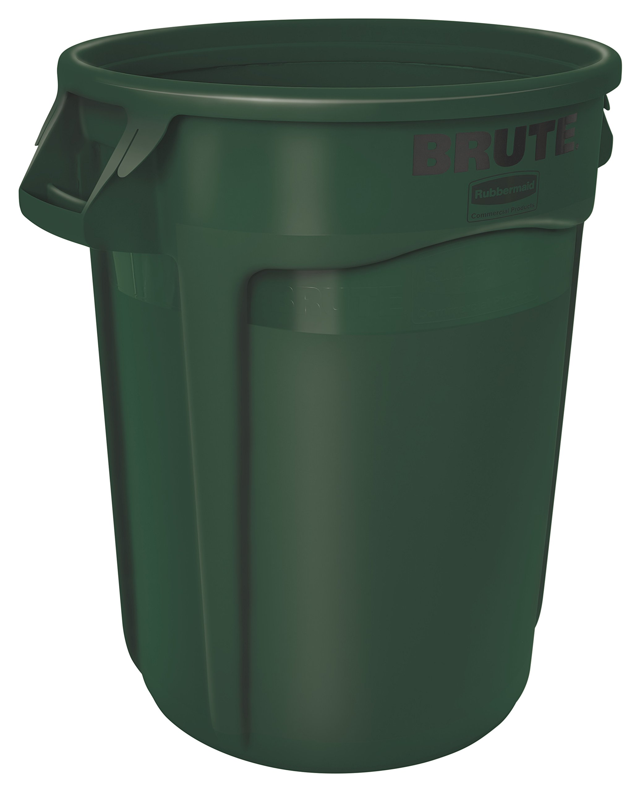 Rubbermaid Commercial BRUTE Heavy-Duty Round Waste/Utility Container with Venting Channels, 32-gallon, Green (FG263200DGRN)