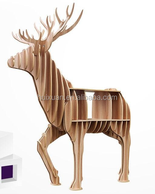 Lovely Creative home wood Decoration Continental Wooden Crafts Nordic home shelves animal beer bookshelf