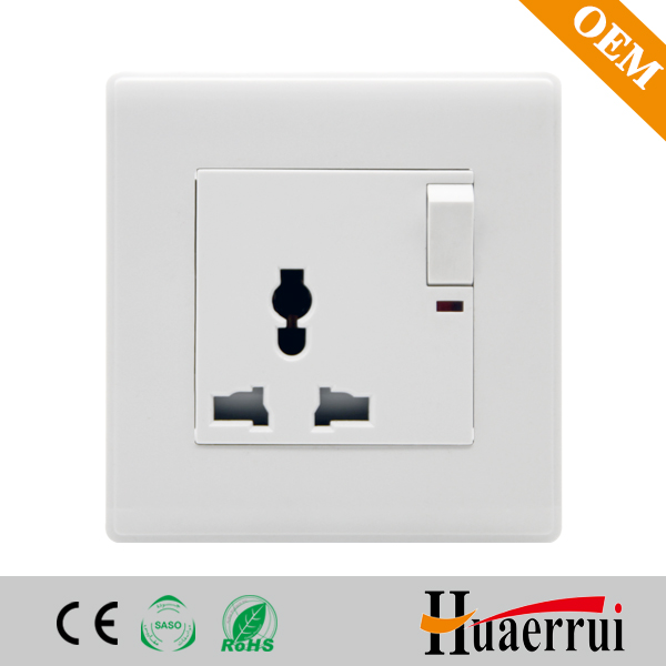 Multi standard 13 A 220V wall socket with switch and light