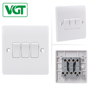 China Precision White UK Wall Light Switch 3 Gang Switch 10A 250V