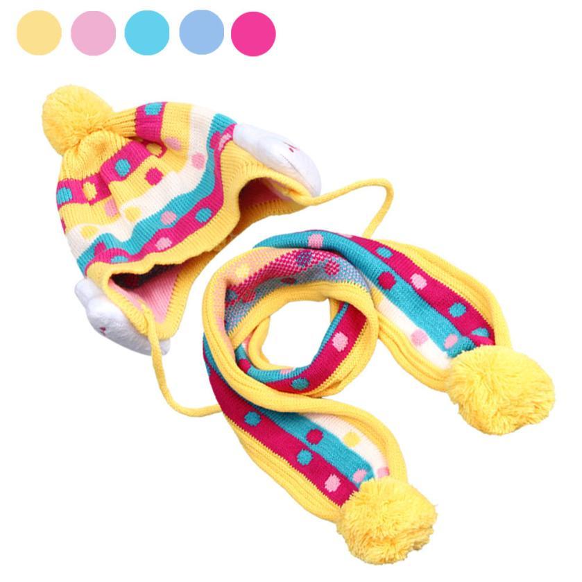 winter Baby Kid hat scarf set Knitting kids caps neckerchief Plush Beanie infants Hat Head Cap