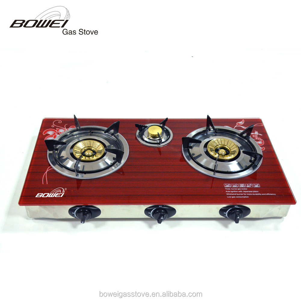 Made in china alibaba gas stove high pressure, tempered glass top gas cooker
