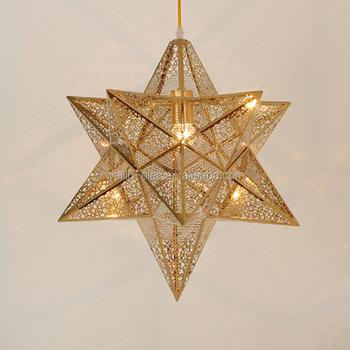 Golden Star Lighting Lamp Iron Pierced Pendant Chandelier Decoration Ceiling Light