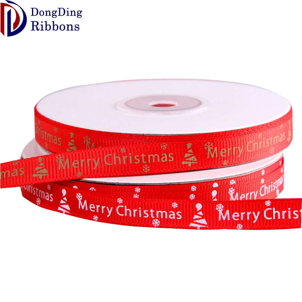 Wholesale Stock 1Inch Width Printed Grosgrain Ribbon Womens Christmas Gift Ribbon