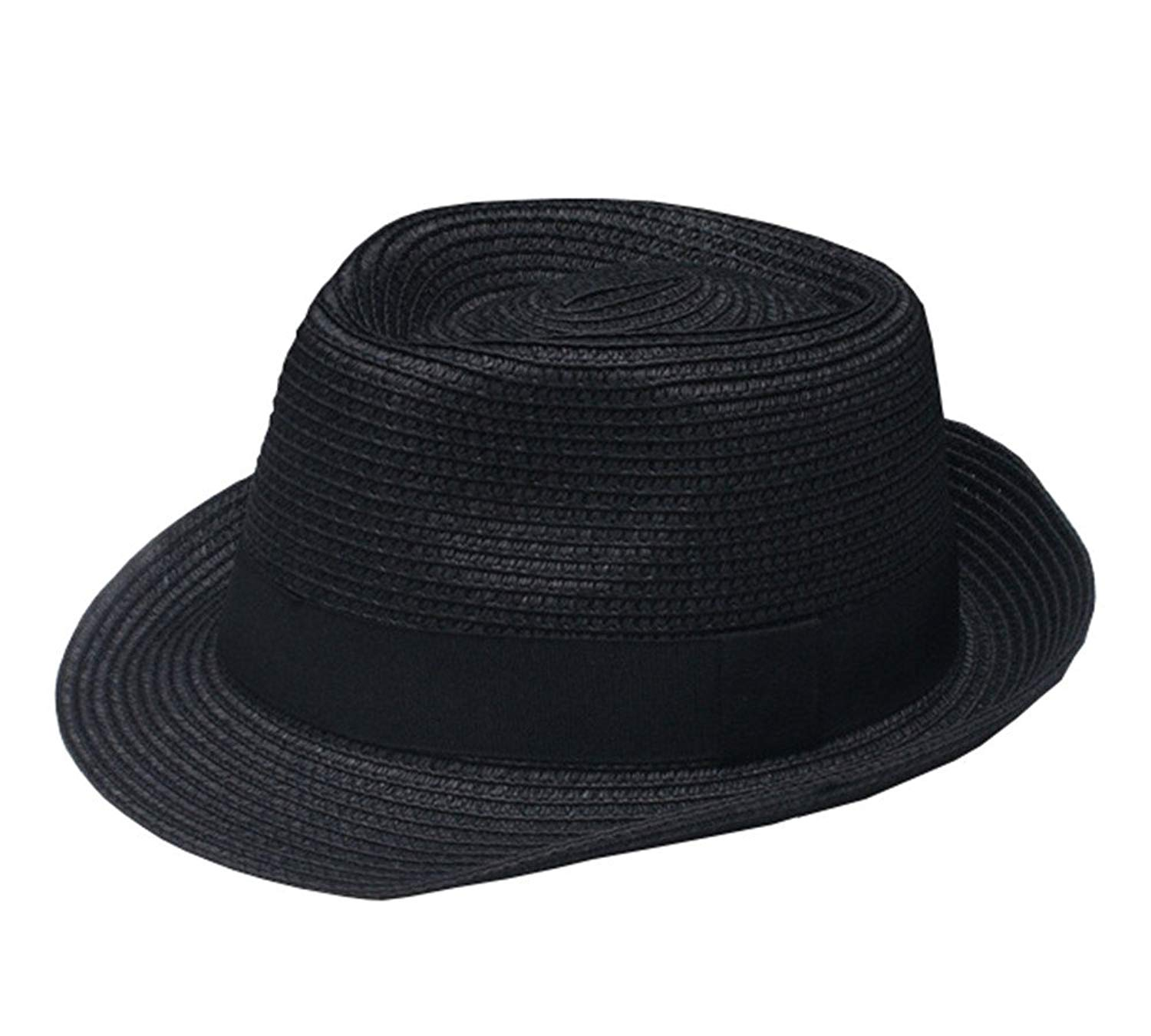 755bc1a2a63 Get Quotations · missfiona Short Brim Summer Beach Fedora Panama Straw Hat  for Men and Kids