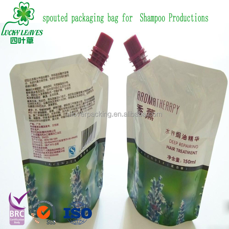 Customized printed plastic stand up travel shampoo spout pouch,metalised Doypack with spout for Cleaning products