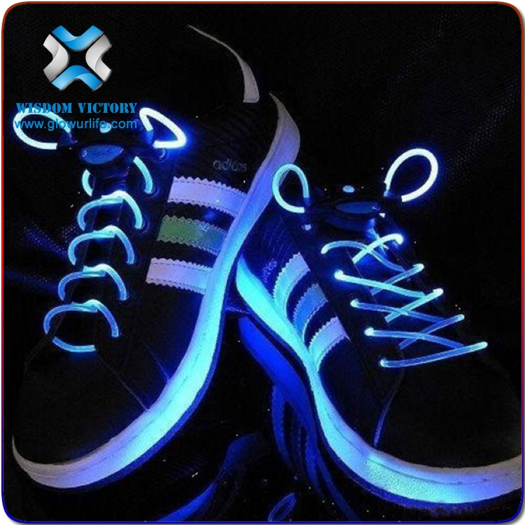 Wisdom Victory 2016 Satin shoelaces multicolor led flashing sholaces lanyard,platube led shoelaces
