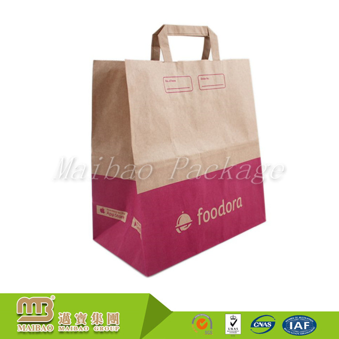 Wholesale custom logo printing grocery fast food take away brown wholesale custom logo printing grocery fast food take away brown paper bag kraft with flat handles sciox Choice Image
