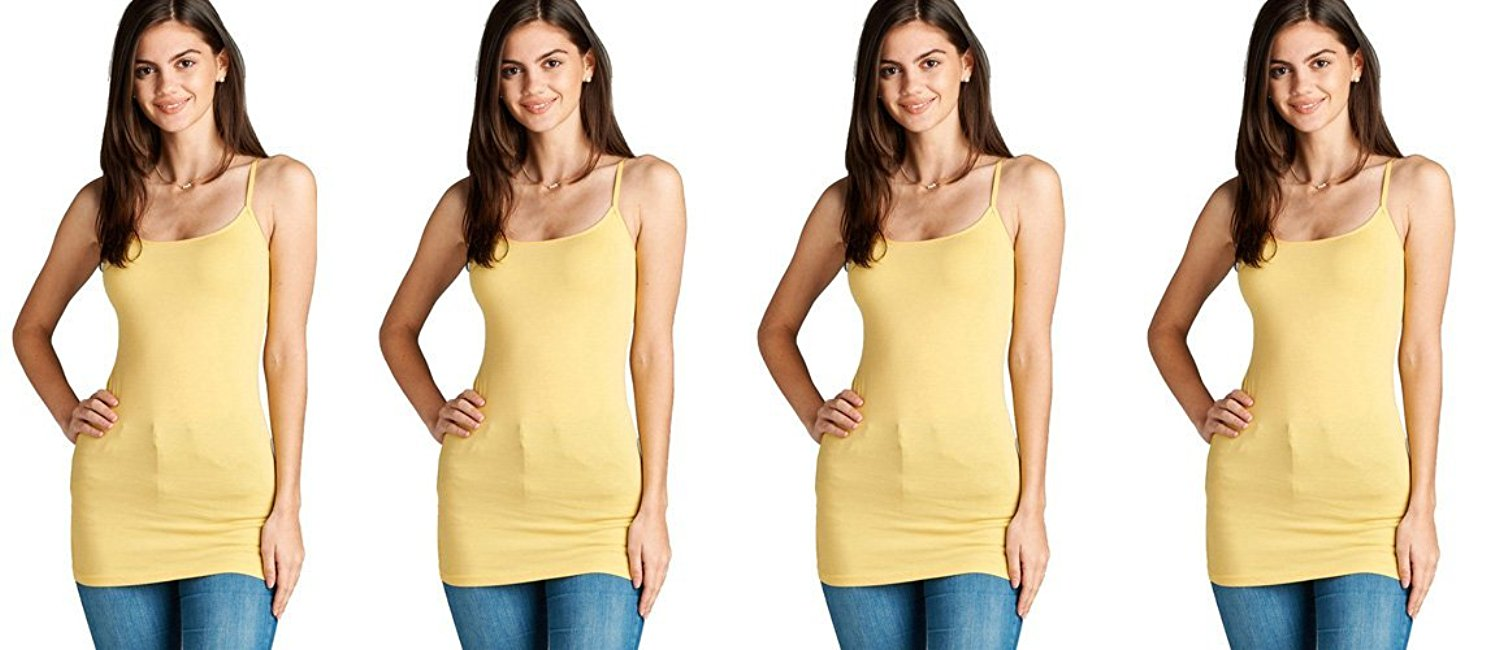 4 Pack Active Basic Women's Basic Tank Top (Yellow 4 Pack)