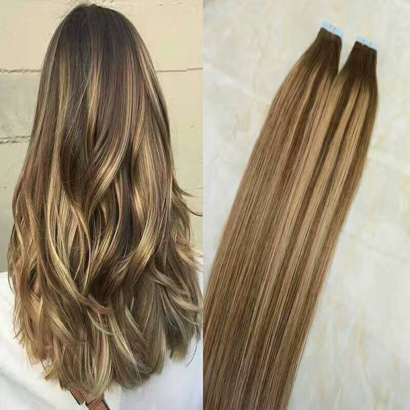 2017 new arrival European remy hair100% human tape hair extension in balayage