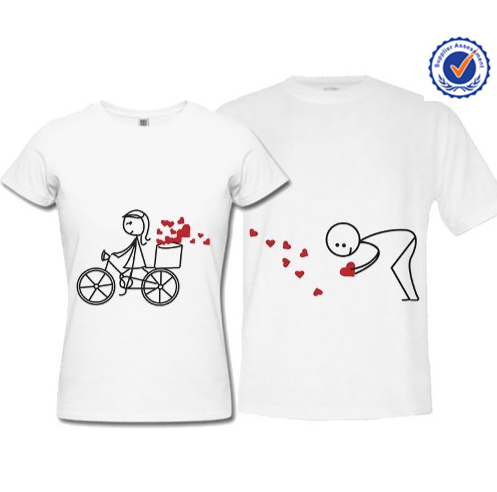 Fascinante pareja camiseta de la impresi n para parejas for Couple printed t shirts india