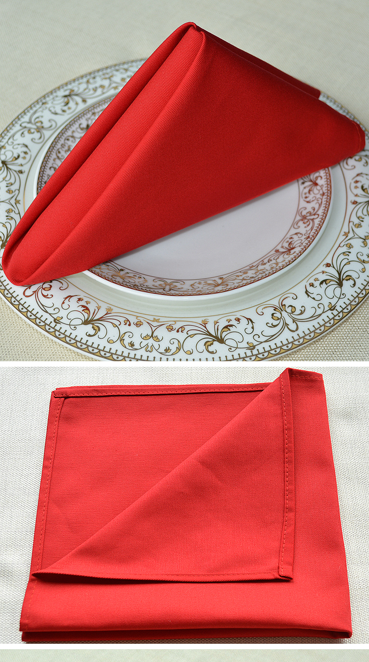 Good quality 100% Cotton Table Napkins / white overlock wedding dinner table Linen decoration for 5 star hotel