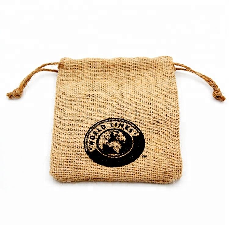 Custom Logo Mini Jute Pouch Small Burlap Coffee Drawstring Bags For Gift Bag Manufacturers