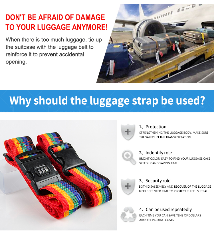 Hot Selling Travel Products Password Lock Luggages Safe Handbag Belt Custom Bag Luggage Strap wtih Scale