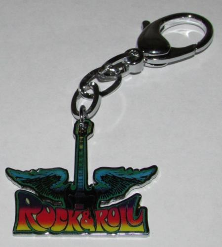 Rock & N and Roll Feathered keychain music band keyring GUITAR keychains Metal Alloy KEY CHAIN