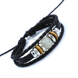 Fashion jade bead leather bracelet multi layer rings decorated leather bracelet