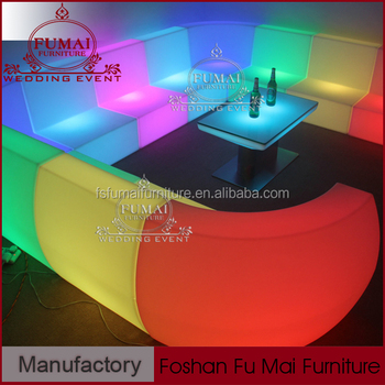 2017 New Corner Led Illuminated Sofa Cordless Light Up Outdoor Furniture With Remote Control