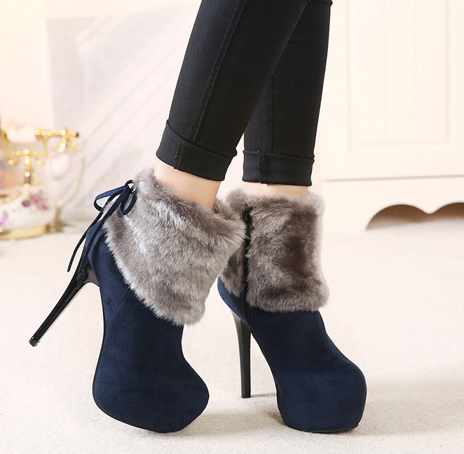c56ea32f6e49 Get Quotations · Hot!Popular 13cm Round Toe Platform Lace Up Fashion Women  Boots Black Blue High Heels
