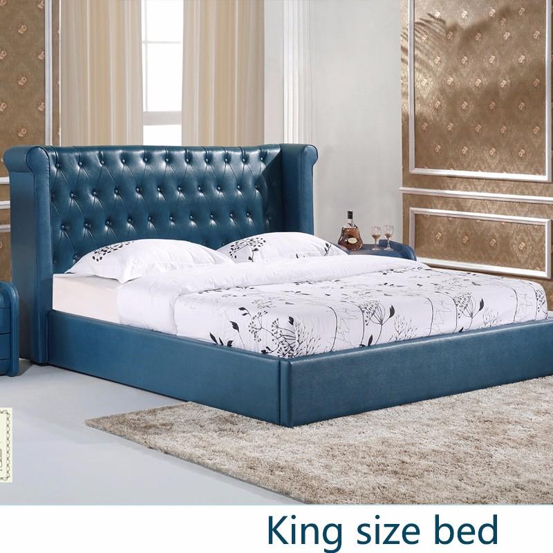 Lujo francés diseño europeo madera plataforma cama de cuero genuino ...