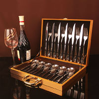 24pcs With Box Stainless Steel Tablewear Knife Fork Spoon Teaspoon Camping Cutlery Set