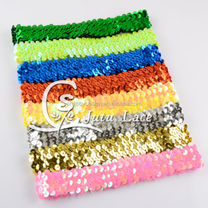 Multicolor sports yoga hair band / sequin fabric glitter hair decoration silk ribbon / 100% elastic polyester satin ribbon