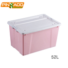 Houseware product manufacturer 52L storage container multi colors PP plastic storage box with wheel