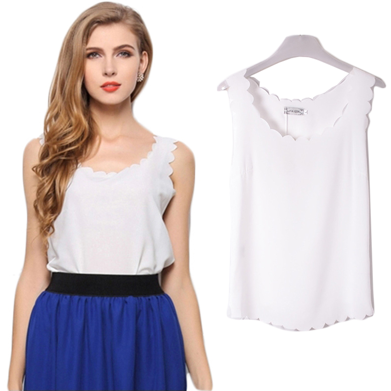Summer Style Women Blouses Shirts 2015 Sleeveless White Chiffon Blouse  Sexy Casual Women Tops Camisa Blusa Feminina WB073