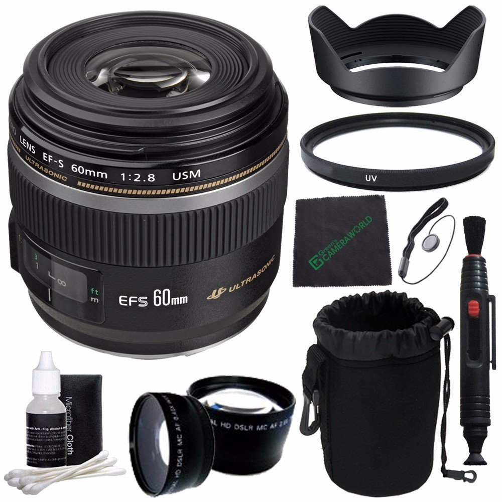 Canon EF-S 60mm f/2.8 Macro USM Lens + 52mm +1 +2 +4 +10 Close-Up Macro Filter Set with Pouch + 52mm Multicoated UV Filter + SLR Lens Pouch + Lens Cleaning Pen + Lens Hood + Cleaning Cloth Bundle 5