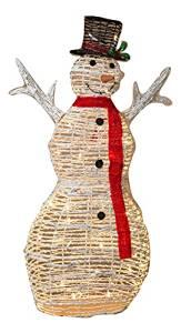 """48""""H LIGHTED GRAPEVINE SNOWMAN Yard Art Sculpture Decor Christmas Lights"""