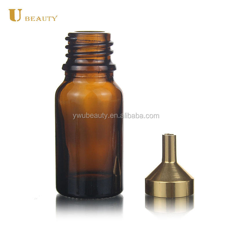 Mini glossy gold essential oil pouring funnel small metal perfume funnel