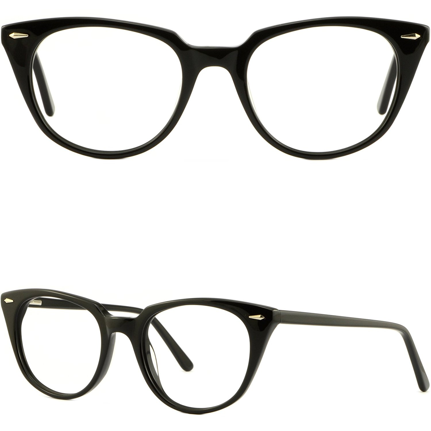 90394cd352 Get Quotations · Black Womens Cateye Frames Acetate Prescription Eyeglasses  Glasses Spring Hinges