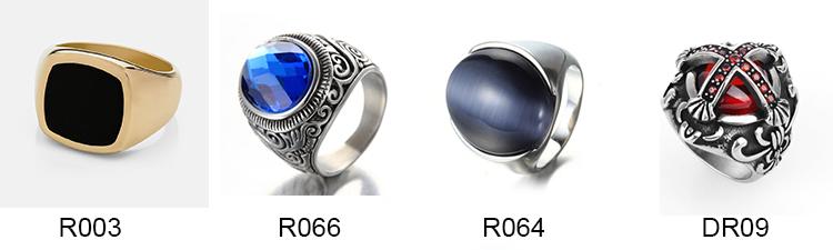 OEM and ODM Stainless steel material blue stone skull gemstone rings for girls