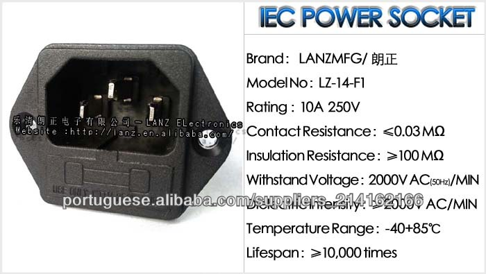 713-00//63 AC Power Entry Modules 2P AC INLET IEC, Pack of 40