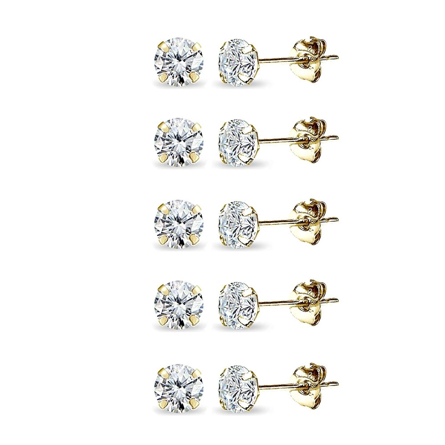 Get Quotations · 5 Pair Set 14K Gold Cubic Zirconia Tiny 3mm Round Unisex Stud  Earrings for Men 2083d036b8