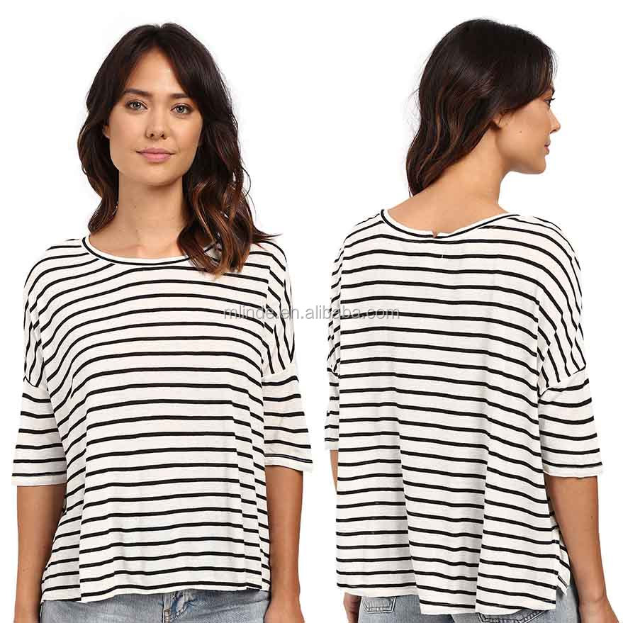 e37aa011 Custom Tee Shirts Women Three-quarter Sleeves Rayon Linen Blend Crew Neck  Loose Boxy Pullover Top Striped T-shirt Lot Sales