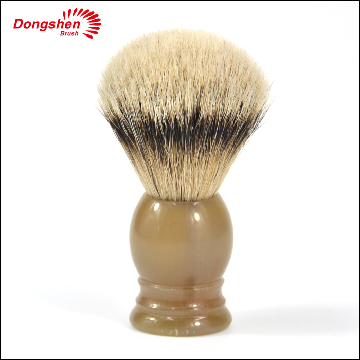 China manufacturer horn handle shaving brush,silvertip badger hair shave brush