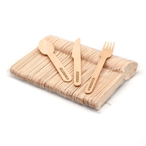 Party Event Creative Bamboo Disposable Wooden Spoon Fruit Picks Forks Knife