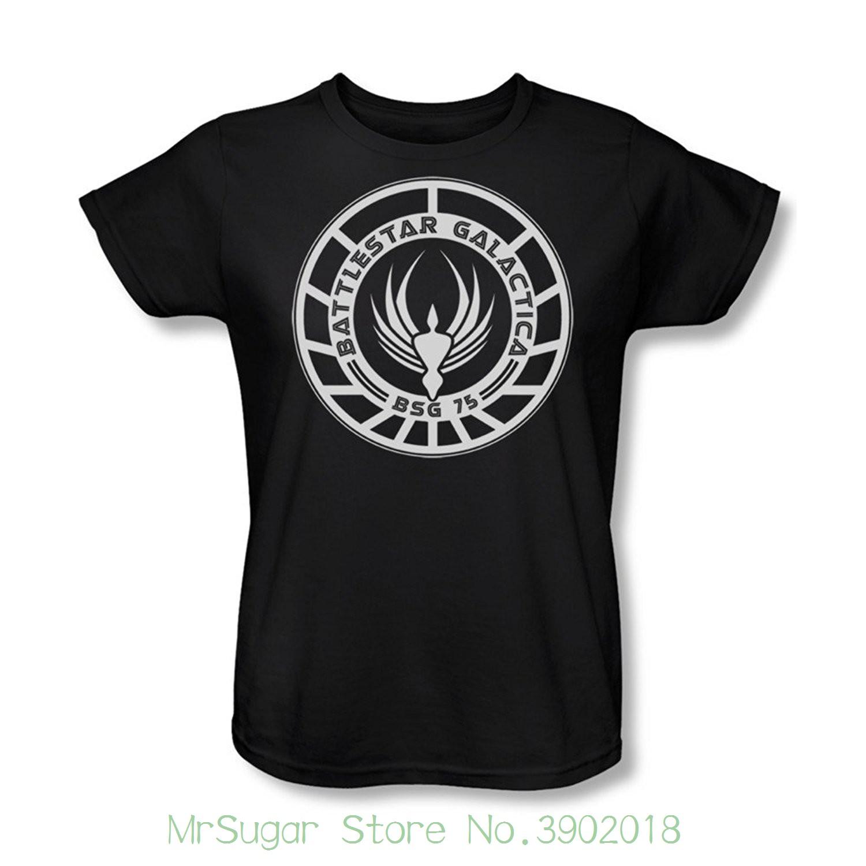Coton Fi Shirt Pur Bsg Femme Costume Imprimé Hommes Badge Sci Tv Battlestar Show Galactica T 75 Tee FJK1cl3T