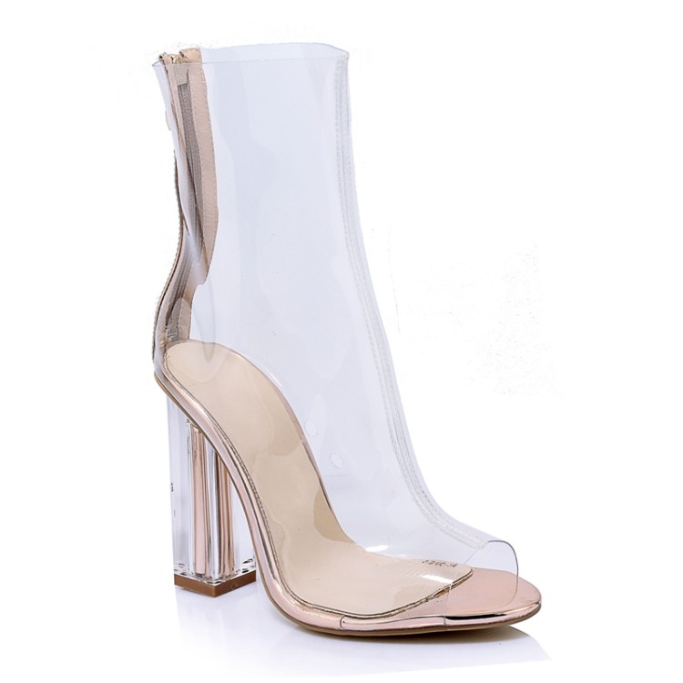Spring Autumn Women Ankle Boots Peep Toe Crystal Heel Transparent women rain Boots Clear High Heel